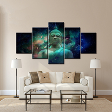 Buddha statue with space planet abstract Wall Art Painting Wallpapers Print for living room Home Decor 5 Pieces Poster