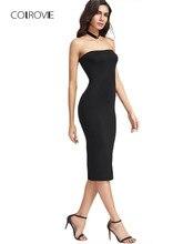 05b53f96224 COLROVIE Bandeau Party Dress Women Black Strapless Sexy Bodycon Midi Summer  Dresses Fashion Brief Slim Elegant Club Dress