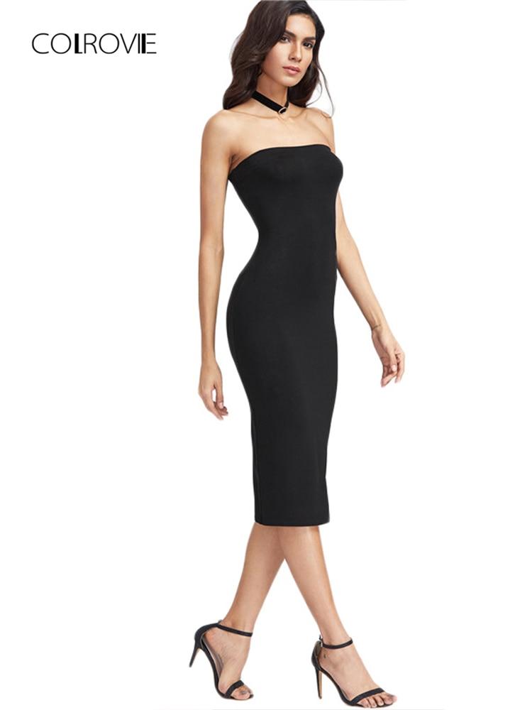 Colrovie bandeau vestido de festa feminino preto sem alças sexy bodycon midi vestidos de verão moda breve magro elegante clube vestido