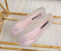 Free Shipping 2017 Transparent Jelly Shoes Rhinestone Fashion Women Shoes New Shallow Mouth Flat Shoes 4