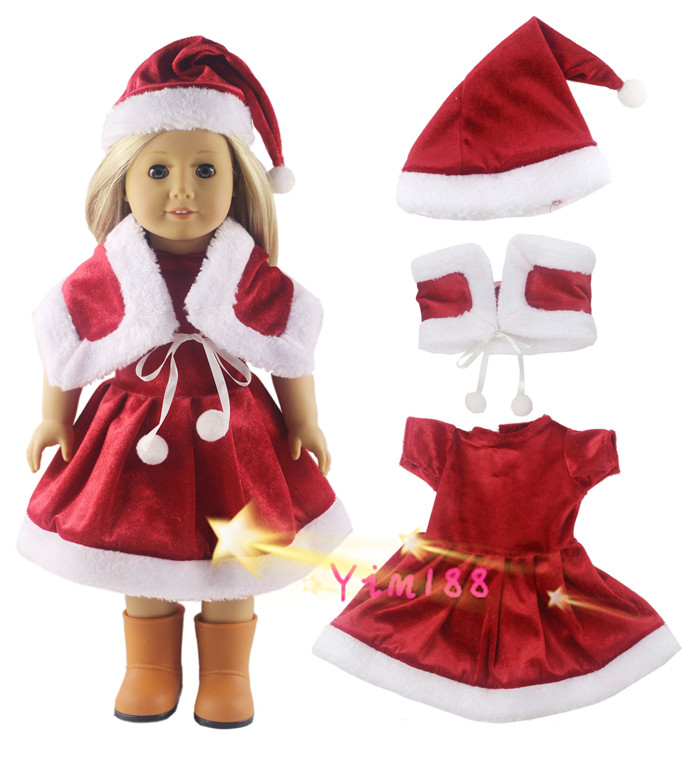 3in1 Doll Clothes for 18 Inch American Girl Christmas Xmas Gift Uniform Dress