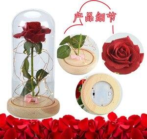 Image 3 - Светодиодная мигающая светящаяся искусственная Роза в стеклянной фоточашке