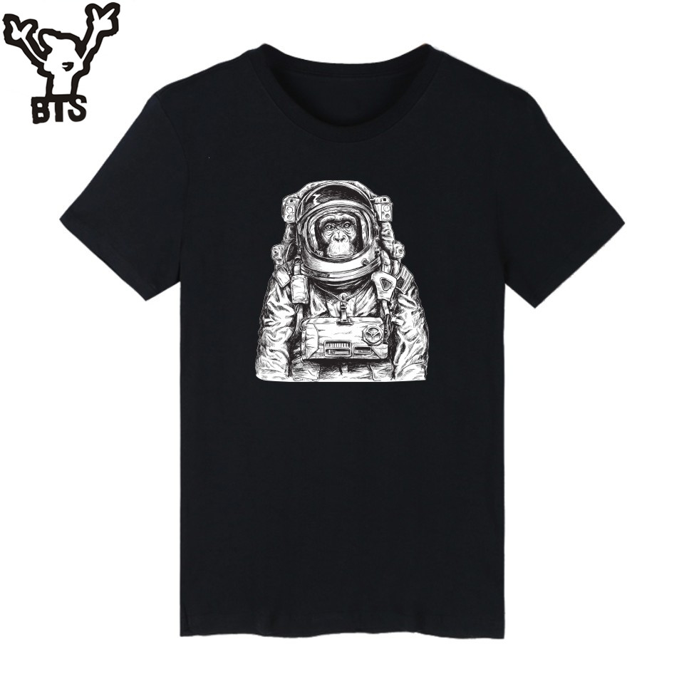 KPOP Space Orangutan Printed T Shirt Men Black Fashion Funny Graphic Tshirts Comfortable Cotton T-shirt Men Plus Size Casual Tee