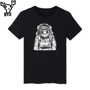 KPOP Space Orangutan Printed T Shirt Men Black Fashion Funny Graphic Tshirts Comfortable Cotton T-shirt Men Plus Size Casual Tee