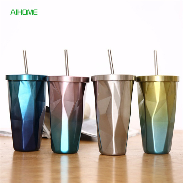 Fashion Colorful Stainless Steel Travel Coffee Mug with Straw