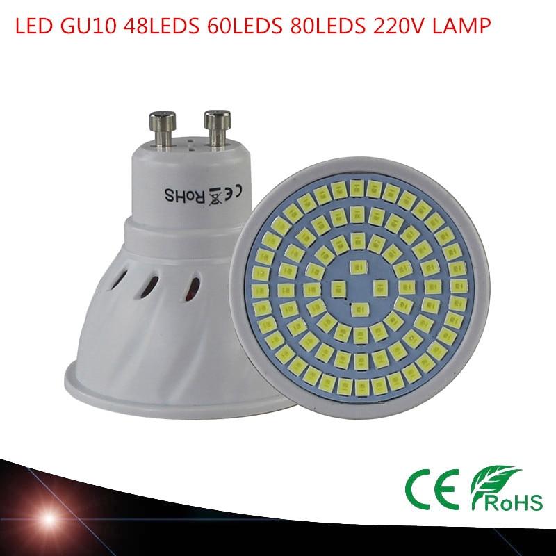 Super Bright GU10 LED Spotlight 48LEDS 60LEDS 80LEDS 220V 230V Led Lamp GU 10 Lampada LED Bulb Energy Saving Home Lighitng gu longzhong led