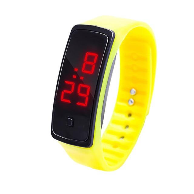 12 Colors New Fashion LED Sports Running Watch Date Rubber Bracelet Digital Wrist Watch Sports Watch Womens Mens Fitness Watch