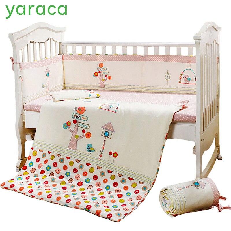 7 шт. розовые детские кроватки Постельное белье для девочек с рисунком птицы для новорожденных постельное белье хлопок детская кроватка Стё