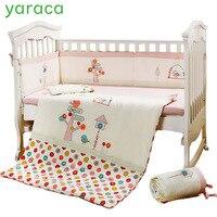 7 шт. розовый Детские постельные принадлежности для кроватки комплект для девочек с мультипликационным принтом «сердитые птицы», кровать д