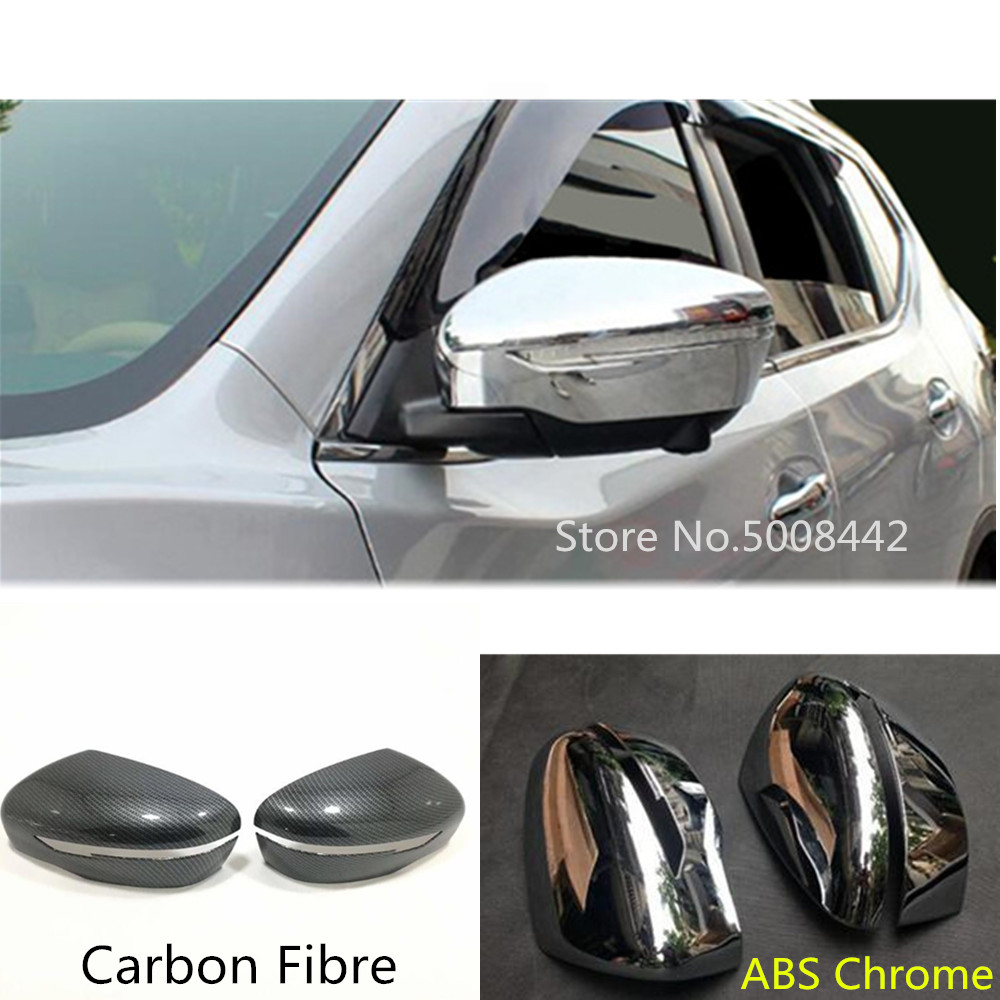 Carbon Fiber Rearview Mirror Rain Cover Trim For Nissan Rogue X-Trail 2014-2018