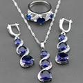 Bastante Azul Creado Sapphire 925 Cadena de Plata de La Joyería Colgante/Collar/Pendientes/Anillo De Las Mujeres Del Envío Caja de la joyería