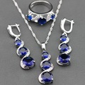 Consideravelmente Azul Criado Sapphire 925 Sterling Silver Jewelry Sets Cadeia Pingente/Colar/Brincos/Anel Para Mulheres Livres Caixa de jóias