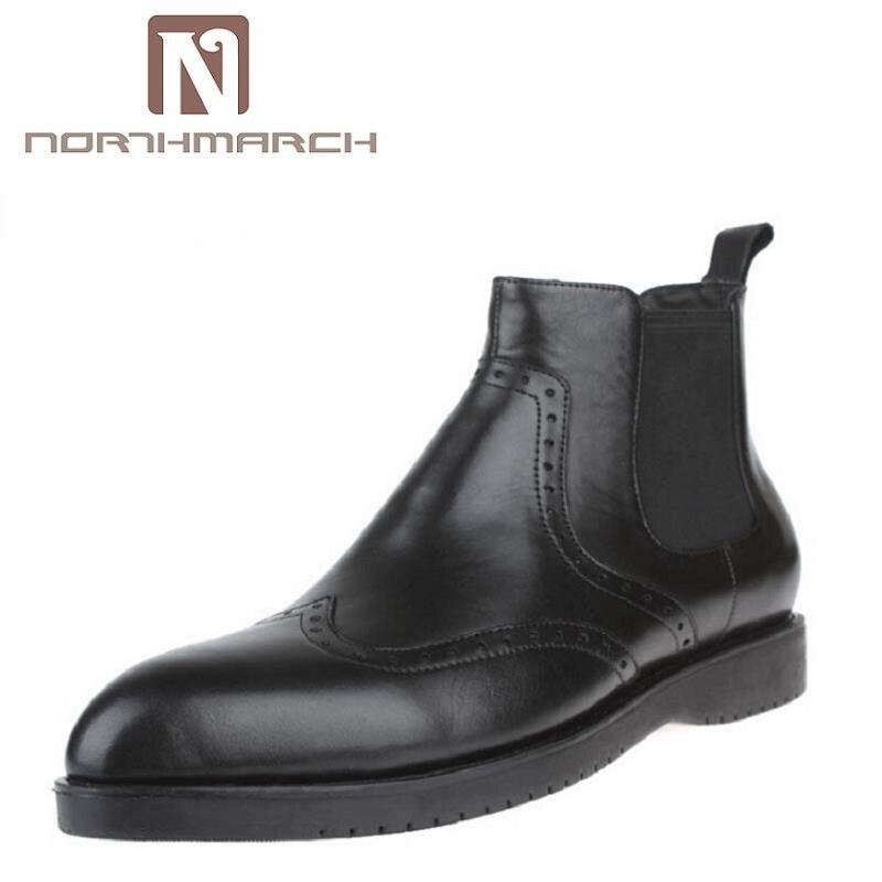 NORTHMARCH nouveau hiver cuir Zip bottines hommes bout pointu bottes d'équitation robe formelle mariage Chelsea bottes zapatos