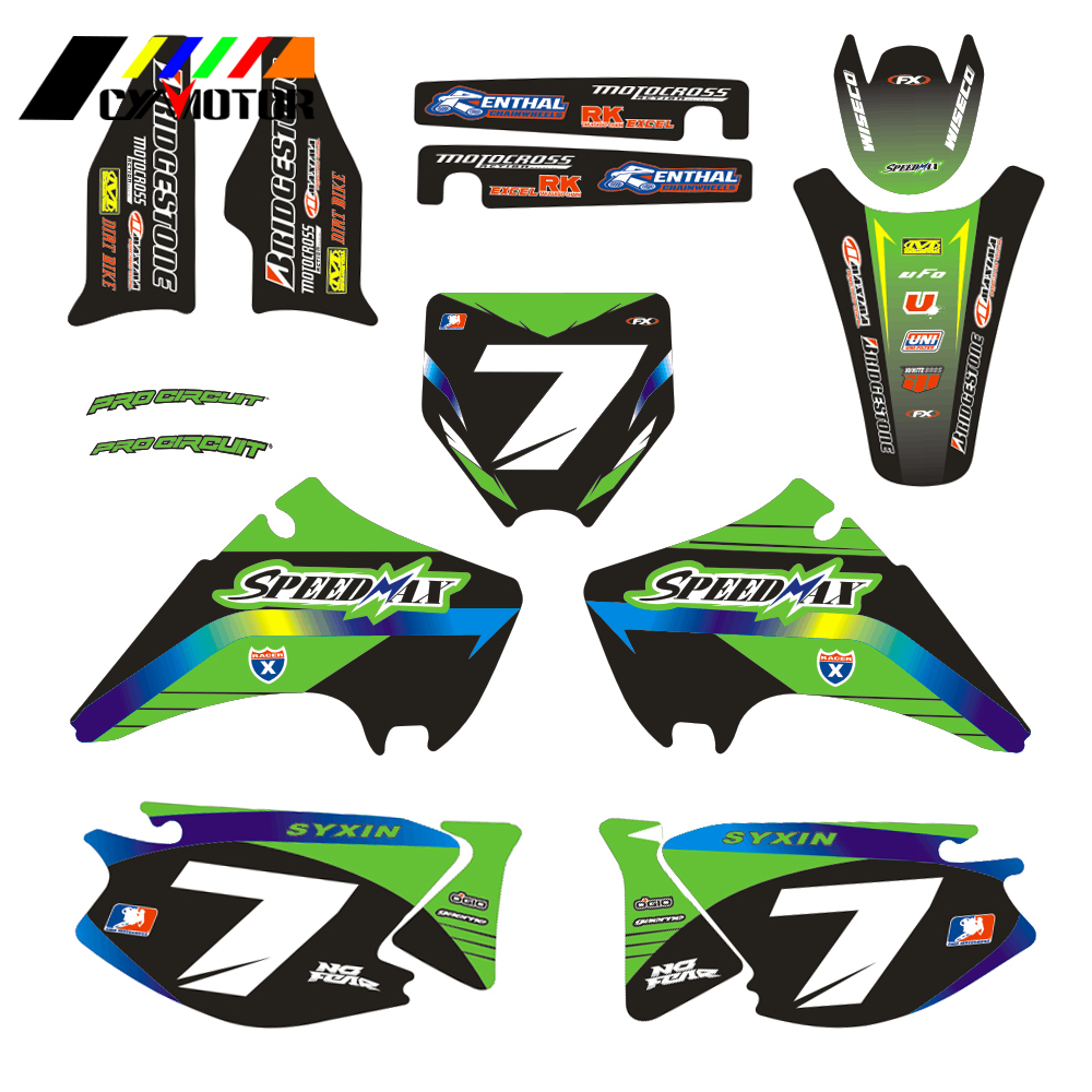 Motorcycle Customized Number Graphics Decals Stickers For KAWASAKI KX125 KX250 KX 125 250 2003 2004 2005 2006 2007 2008 Motobike