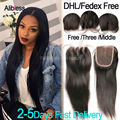 7A Brazilian Virgin Straight Lace Closure 4*4 Free/Middle/3 Part,Cheap Virgin Human Hair Swiss Top Lace Closure Bleached Knot