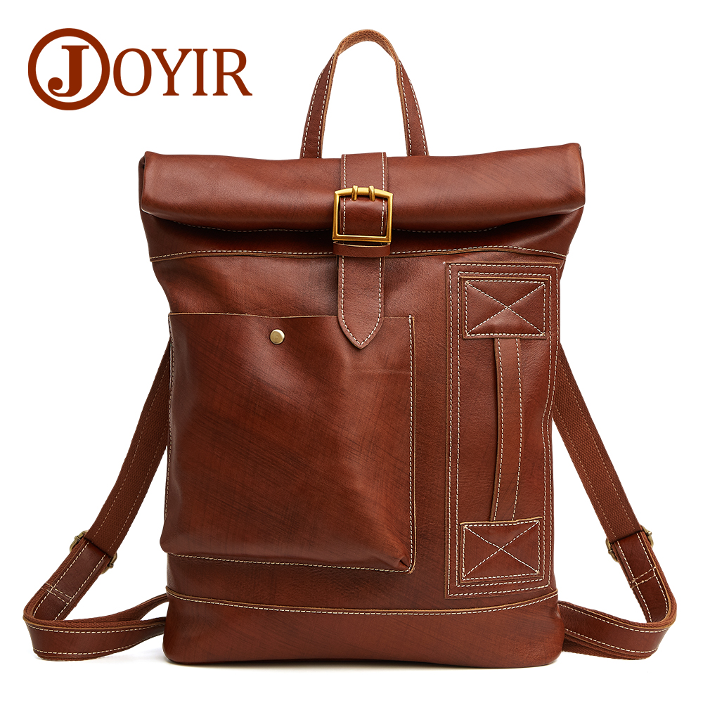 JOYIR Luxury Brand Men Backpack Genuine Leather Men Bag Cowhide Leather Causal Male Backpack Vintage Travel Bags School Bag women custom name crystal big diamond clutch full crystal hot selling 2017 new fashion evening bags 1001bg