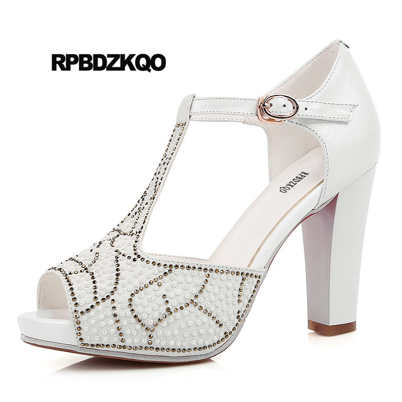 Peep Toe Chunky Pearl T Strap Rhinestone Women Sandals 2018 Summer Pumps Wedding Shoes Pink Elegant High Heels Crystal White new pink red rhinestone diamond bride s shoes super high heels crystal bowl wedding shoes elegant sandals female pumps feminina