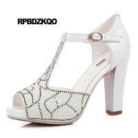 Peep Toe Chunky Pearl T Strap Rhinestone Women Sandals 2018 Summer Pumps Wedding Shoes Pink Elegant High Heels Crystal White