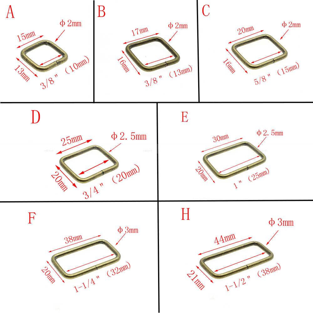 10 stks/pak Metalen Draad Gevormd Rechthoek Ring Metalen Ring Riem Loop Lint Slider gesp Beha Haak Pakket accessoires