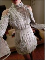 Fashion Long Sleeve Silver Sequins Dress Women's Party Dresses Costumes Sexy Female Singer Dance Stage Wear Dresses