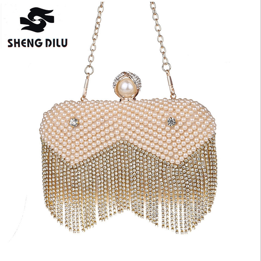 Designer Tassel Crystal Pearl Beaded Clutches Bags Women Luxury Champagne Pearl Bag Wedding Party Bags Chain Clutch Handbags