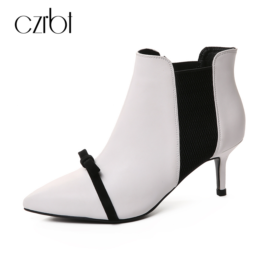 CZRBT 2018 New Genuine Leather Women Boots High Heels 6.5cm Elegant Knot and Pointed Toe Handmade Ladies Ankle Shoes For Party women boots sexy high heels shoes woman genuine leather ladies party pumps elegant elastic band rivets ankle boots pointed toe