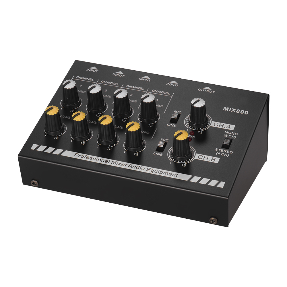 professional 8 channels mixer console mono stereo audio mixing sound line mixer with power. Black Bedroom Furniture Sets. Home Design Ideas