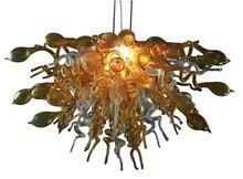 Hot Sale Handmade Blown Glass Chandelier Small Elegant Art Decor Gold Color LED Light Fixture for Living Room