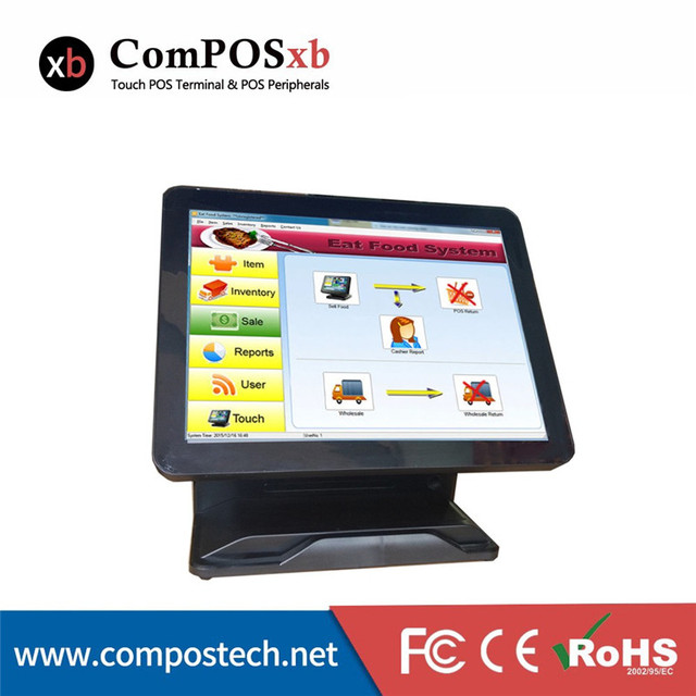 New arrival 15 inch Pos system All-in-One touch pos terminal with MSR cheap price Black