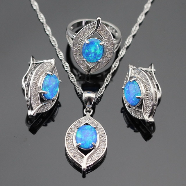 Australia Fire Blue Opal White CZ Silver Color Jewelry Sets For Women Necklace Pendant Hoop Earrings Rings Free Gift Box