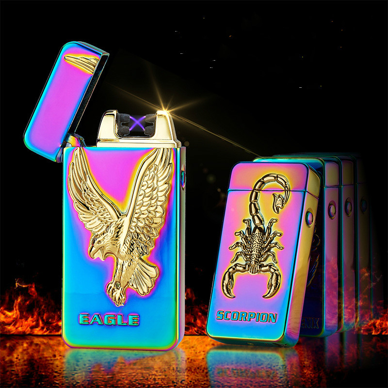 3D Eagle Dragon Plasma Lighter USB Electric Dual Arc Lighter Metal Flameless Rechargeabl ...