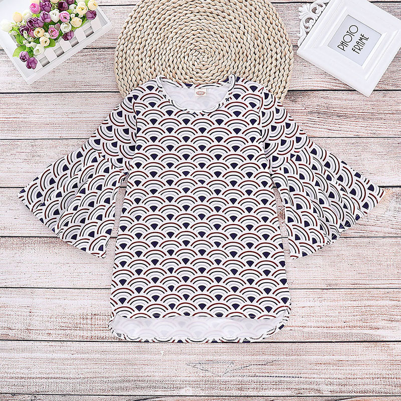Baby Girls Dress Children Clothing Kids Children Printed Flare Horn Polyester Long Sleeve Dress Size 90-130 For 2-6 Years Old