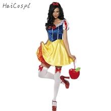 Взрослый костюм Белоснежки Для женщин Косплэй карнавальный на Хэллоуин платье Обувь для девочек сказка женские Необычные платья плюс Размеры наряд для вечеринки