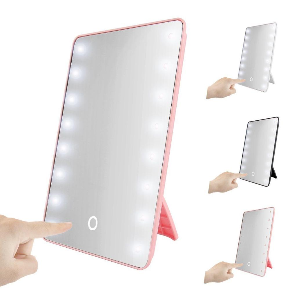 BEAUTMEI LED Mirror Battery Powered Dimmable Makeup Mirror 16 LED lights Illuminated Mirror with Touch Screen Desktop Bedroom