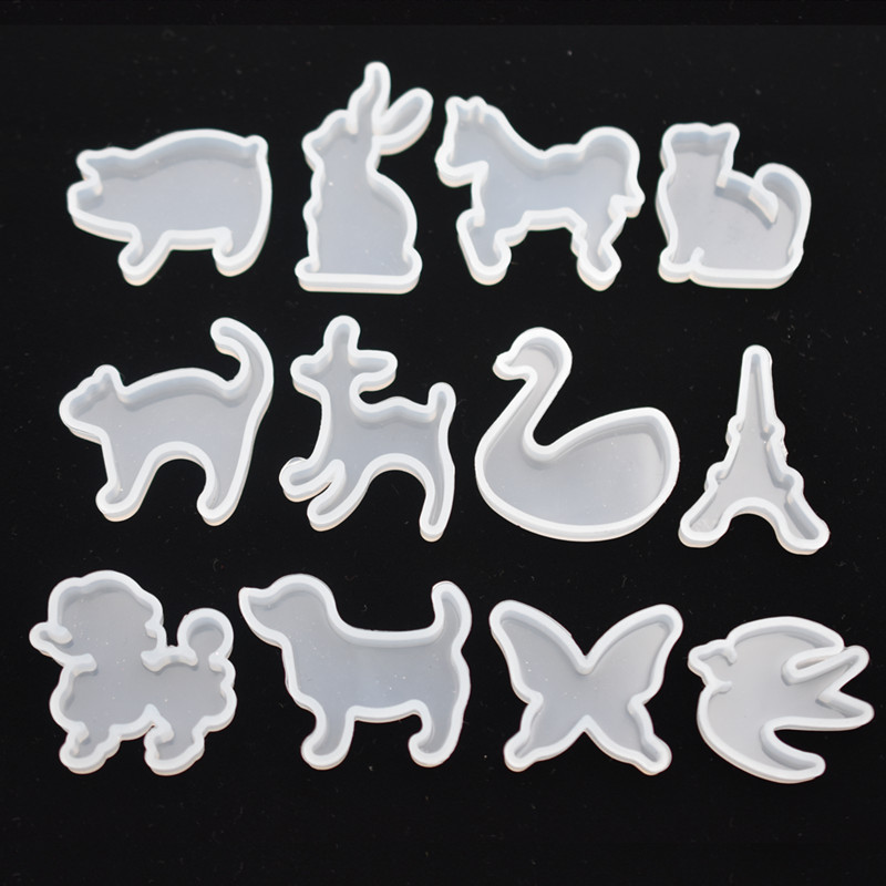 SNASAN 12pieces Silicone Mold For Jewelry Cute Animals Cat Rabbit Deer Horse Resin Silicone Mould Handmade Epoxy Resin Molds