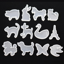 SNASAN 12pieces Silicone Mold for jewelry cute animals cat rabbit deer horse Resin Mould handmade epoxy resin molds