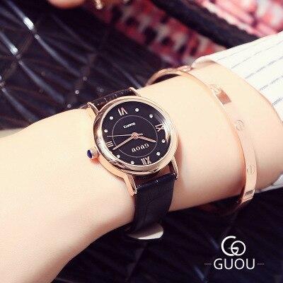 GUOU Kobiet zegarka Brand Classic Watch Women Retro Leather Strap Watches Roman scale Quartz Wristwatch Lady Gift orologi donna in Women 39 s Watches from Watches