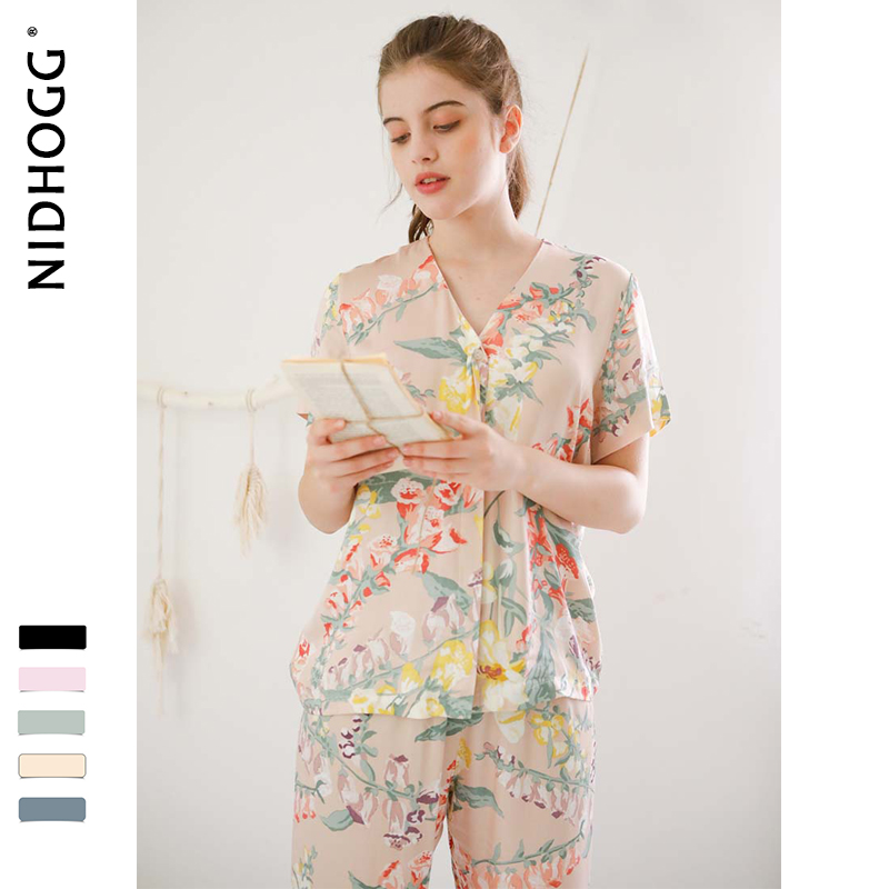 Summer New Elegant Flower Printing Satin Pajamas for Women Short Sleeve Trousers Sleepwear V Neck Sexy Casual Clothes 2 Suits-in Pajama Sets from Underwear & Sleepwears