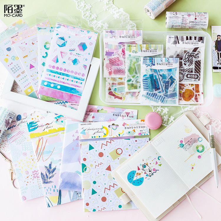 Geometry Collage Color Decorative Stationery Stickers Scrapbooking DIY Diary Album Stick Lable