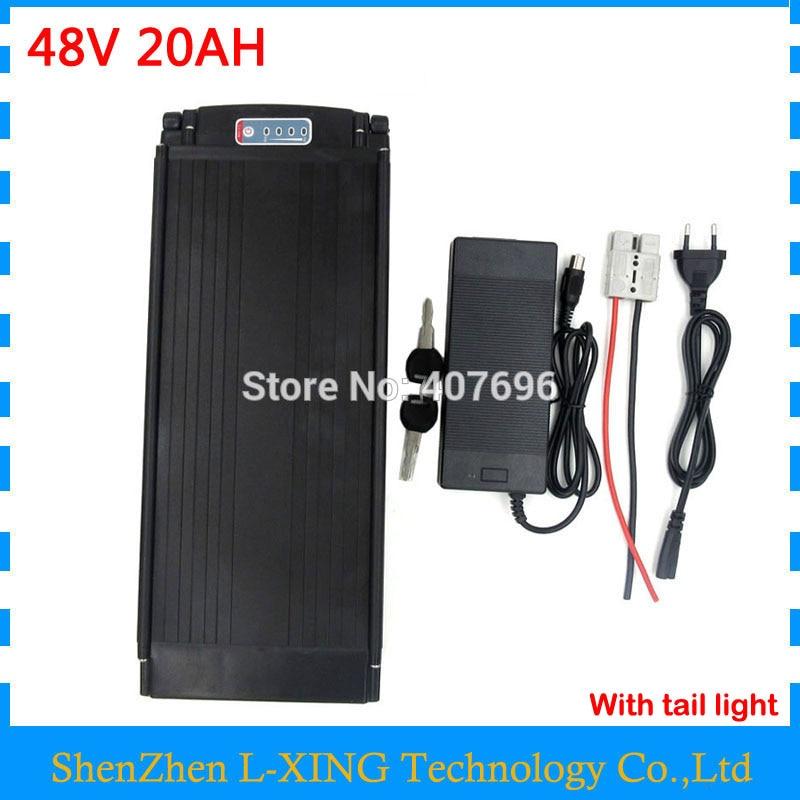 Batterie 48 V 20AH 1000 W 48 V batterie rack arrière 48 V 20AH utilisation 2500 mah 18650 cellule 30A BMS 5A chargeur livraison gratuite