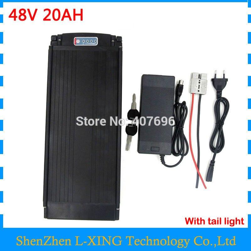 48 V batterie 20AH 1000 W 48 V porte-bagages arrière batterie 48 V 20AH utiliser 2200 mah 18650 cellulaire 30A BMS 2A Chargeur livraison gratuite