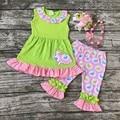 Пасха дизайн новорожденных девочек бутик одежды оборками хлопок капри кролик печати с подходящими аксессуарами оголовье и ожерелье