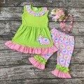 Pascua diseño niñas bebés boutique ropa volantes algodón capris impresión conejito con accesorios diadema a juego y collar