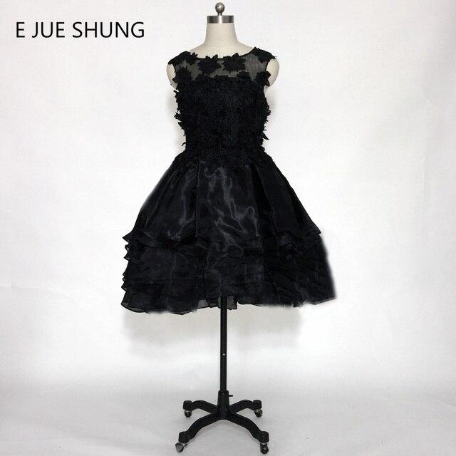 E JUE SHUNG Kleine Schwarze Kleid Organza Spitze Appliques kurze ...