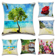 Scenic Green tree flower beach decoration for home party coffee shop seat cushion cover Pillow case Chair sofa kids friend gift nordic style tropical plants flamingo green leaf cushion cover decoration for home sofa chair car pillow case friend kids gift