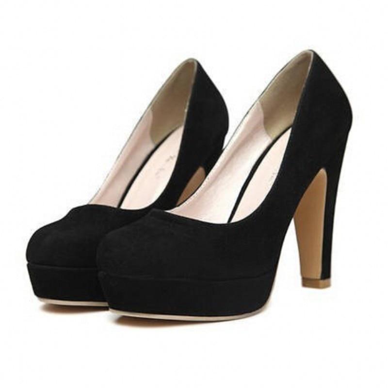 12742452dc0 Women Suede Black Pumps Elegant Round Toe Nude Pumps Designer Thick High  Heels Shoes Fashion Brand Women Suede Black Pumps