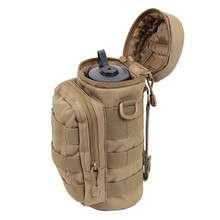 Nylon Water Bottle Pouch Water-repellent Zipper Camo Tactical Military Pack Bag for Travel Climbing