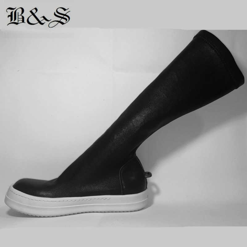 Noir & Street 2018 femmes rue Punk Rock fer crochet en cuir véritable + tissu extensible haute 38 cm chaussette bottes de luxe qualité bottes - 3