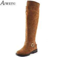 Aiweiyi mujeres negro rodilla altas botas de imitación de gamuza botas largas 2017 Otoño Invierno Moda Cálida Tacón Grueso de Nieve Trabajo botas