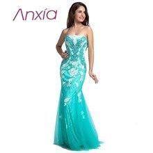 Luxus Mint Green Mermaid Abendkleid Lange 2016 Anxia Sexy Spitze Applique Verführerische Tüll Bateau Ausschnitt Elie Saab Party Kleider